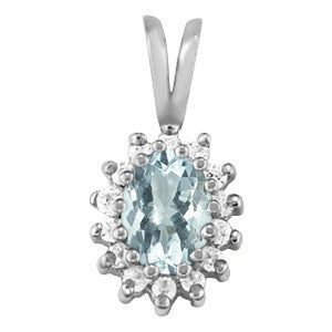 Sterling Silver Aquamarine Pendant with Sidestones