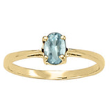 Yellow Gold Aquamarine Solitaire Ring