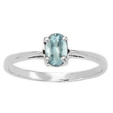 Platinum Aquamarine Solitaire Ring