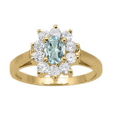Yellow Gold Aquamarine Ring with Sidestones