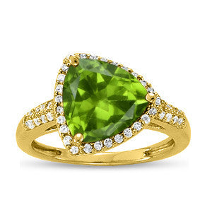 Yellow Gold Peridot Ring with Sidestones