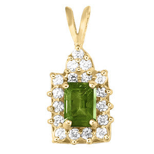 Yellow Gold Demantoid Garnet Pendant with Sidestones