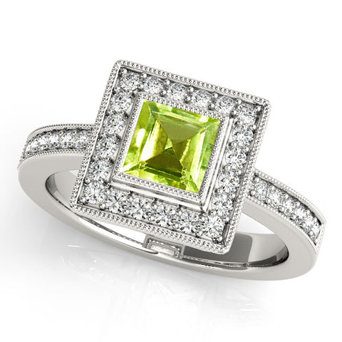 Platinum Peridot Engagement Ring