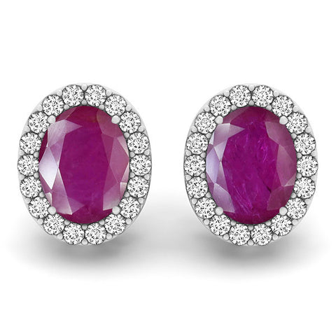 Ruby Halo Earrings - 41007