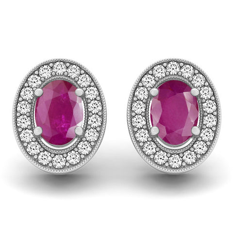 Ruby Halo Earrings - 41008