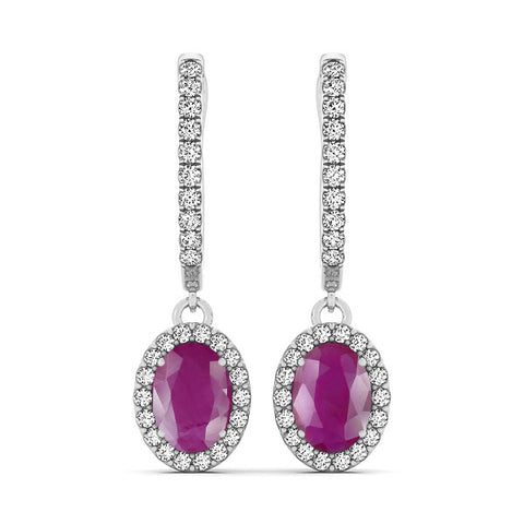 Ruby Halo Earrings - 41010