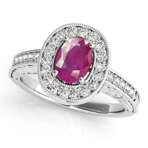 White Gold Ruby Engagement Ring