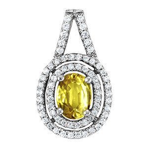 Sterling Silver Yellow Sapphire Pendant with Side Stones