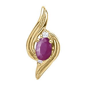 Yellow Gold Ruby Pendant with Sidestones