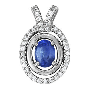 White Gold Sapphire Pendant with Sidestones
