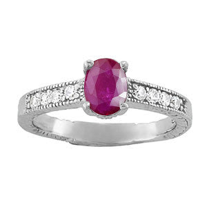 Platinum Ruby Ring with Sidestones