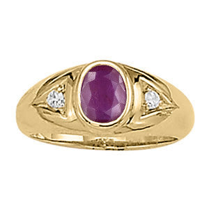 Yellow Gold Ruby Ring with Sidestones
