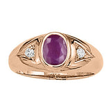 Rose Gold Ruby Ring with Sidestones