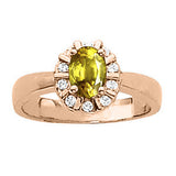 Rose Gold Yellow Sapphire Ring with Sidestones
