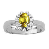 Sterling Silver Yellow Sapphire Ring with Sidestones