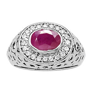 White Gold Ruby Ring with Sidestones