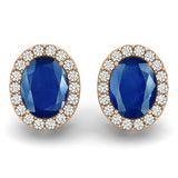 Sapphire Halo Earrings - (1.05 Cts) - 40590
