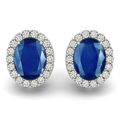Sapphire Halo Earrings - 41007