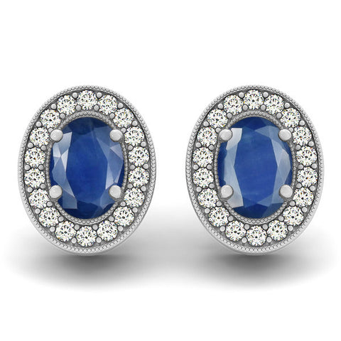 Sapphire Halo Earrings - 41008