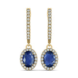 Sapphire Halo Earrings - Side view