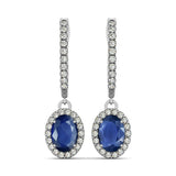 Sapphire Halo Earrings - 41010