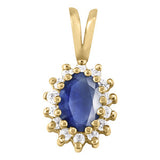 Yellow Gold Sapphire Pendant with Sidestones