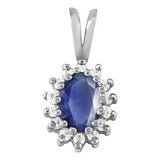 Sterling Silver Sapphire Pendant with Sidestones