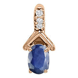 Rose Gold Sapphire Pendant with Sidestones
