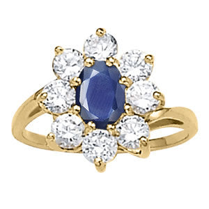 Yellow Gold Sapphire Ring with Sidestones