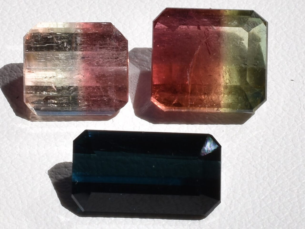 Two bright watermelon tourmaline and their Indigolite relative