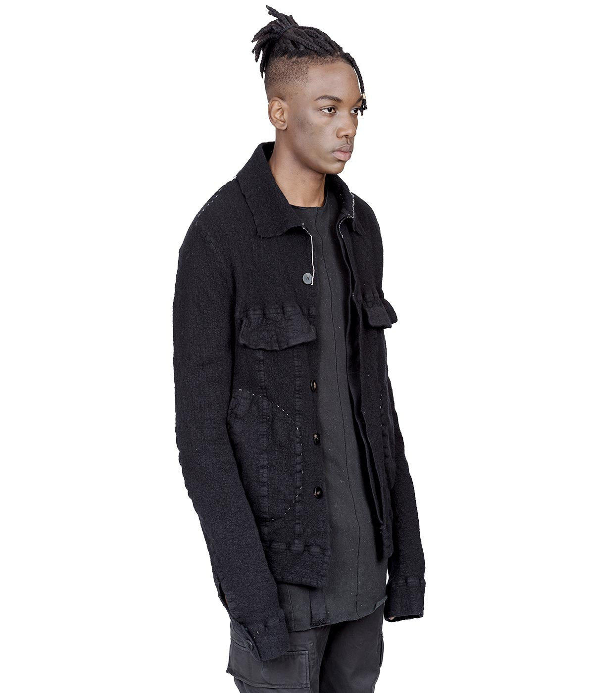 Black Shrink Washed Felted Wool Jacket
