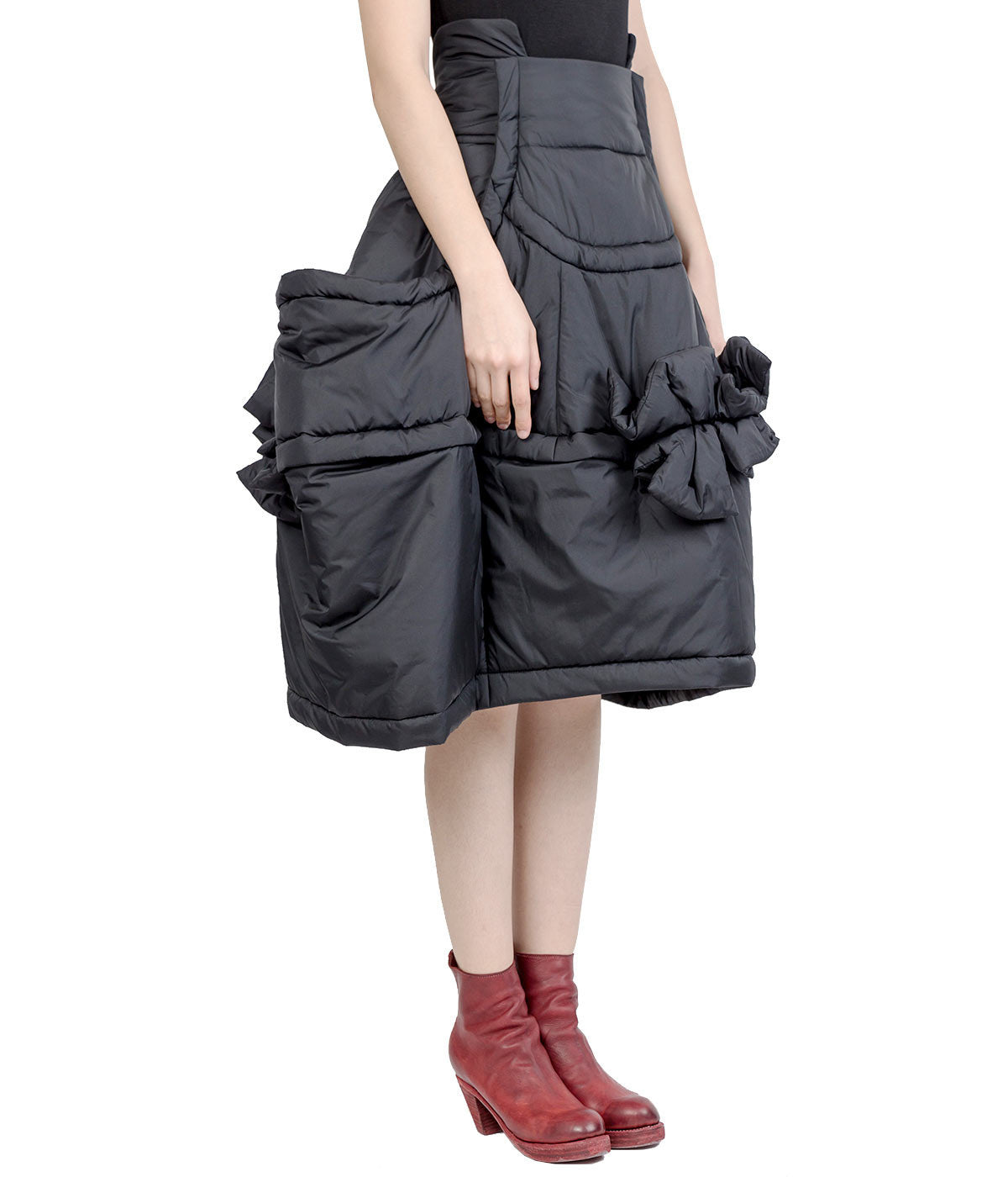 Black Oversized Padded Nylon Skirt