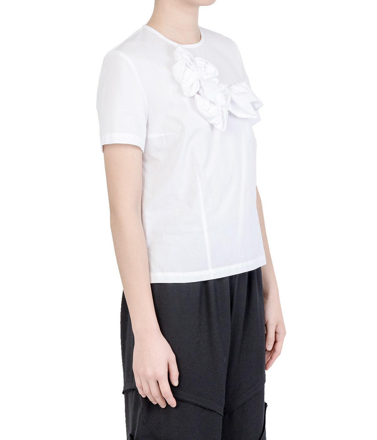 White Ruffle Trimmed Poplin Top