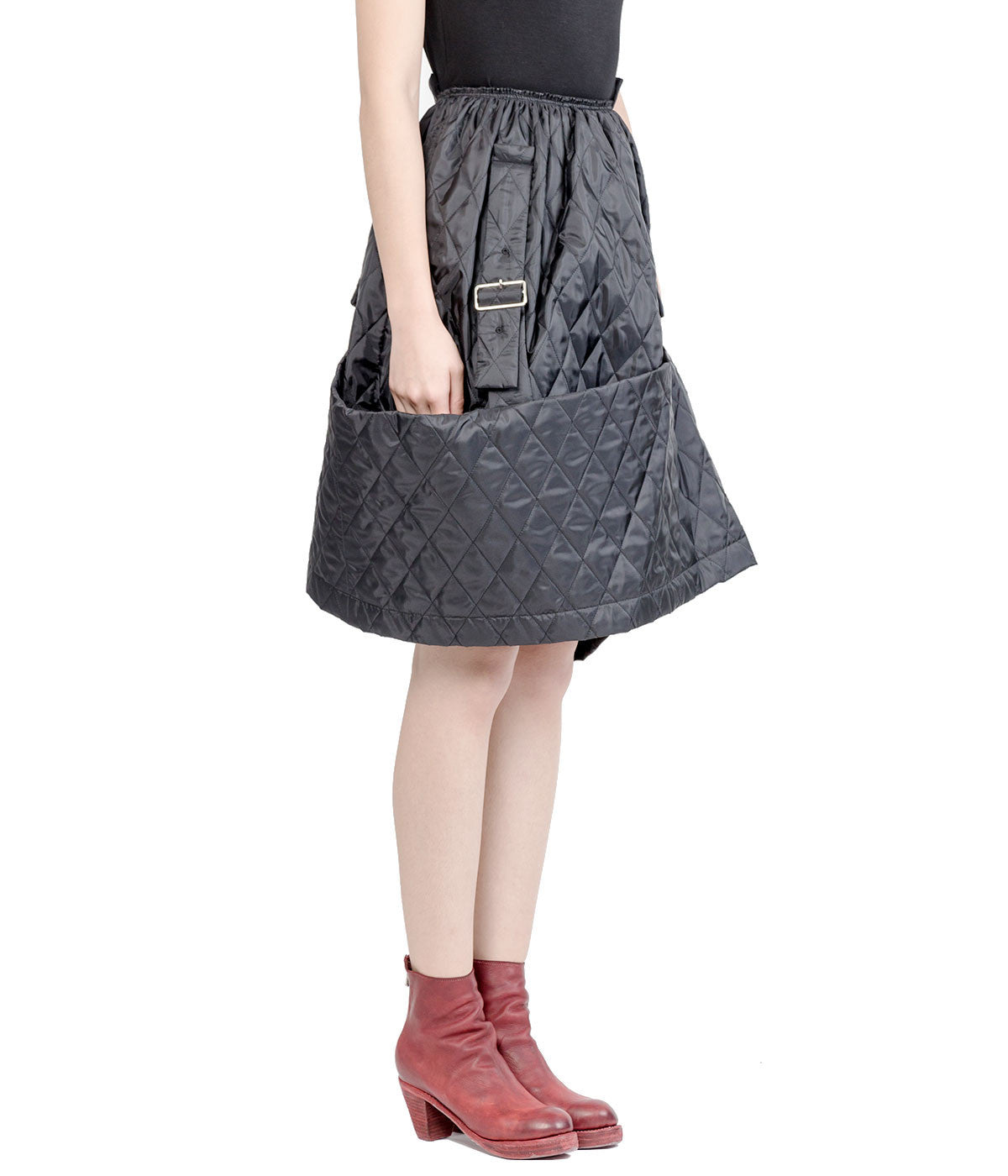 Black Quilted Asymmetrical Skirt