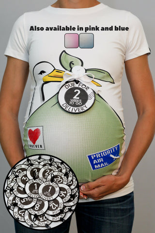 Stork Bundle Shirt w/ Set of 28 Weekly COUNTDOWN Belly Tags