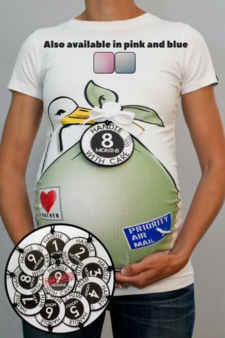 Stork Bundle Shirt with Set of 10 Monthly Belly Tags