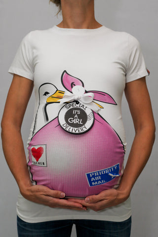"Pink Stork Bundle Shirt with ""It's A Girl"" Tag"