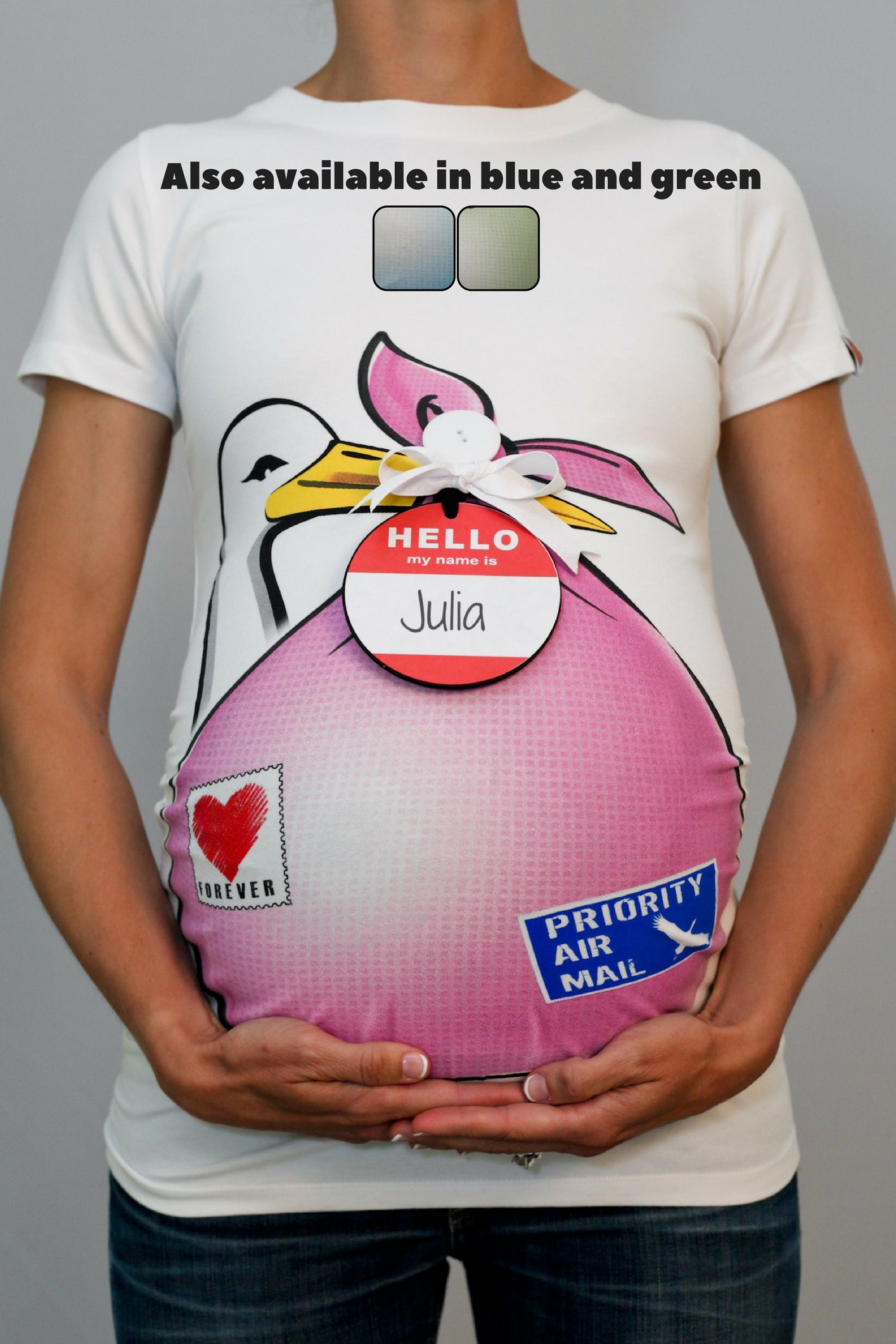 "Stork Bundle Shirt with ""HELLO my name is ...."" Tag"