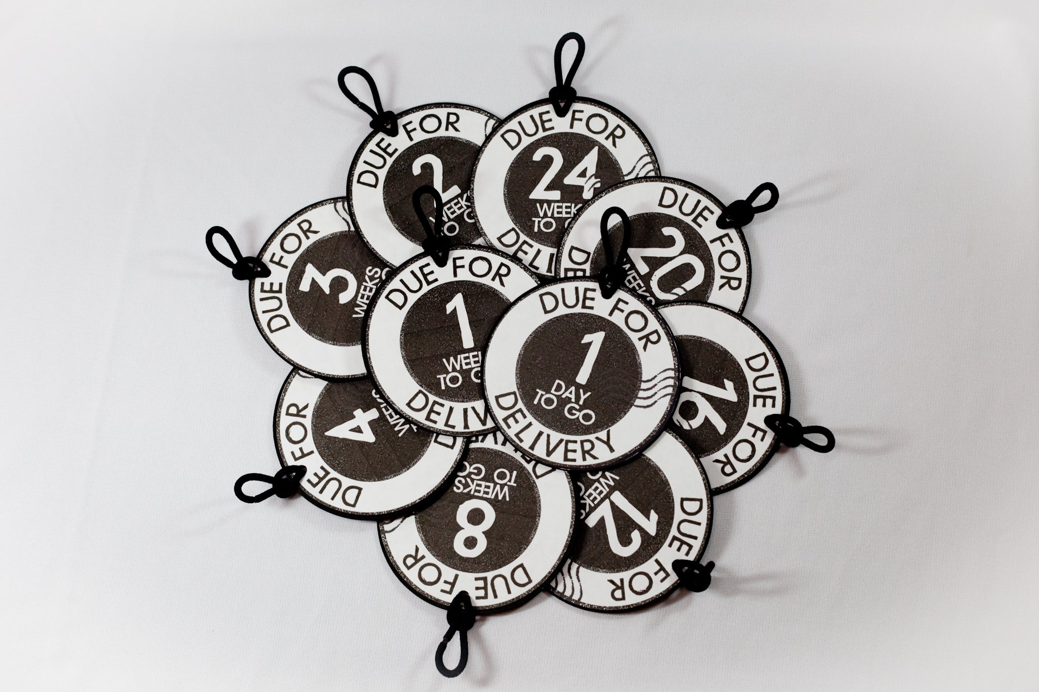 Weekly Count-DOWN Pregnancy Tags for Stork Bundle Shirt - Partial Set