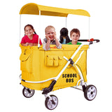 Wonderfold MJ06 School Bus (Multi-Function Quad Stroller Wagon, Push Only)-Wagon-The Sensible Mama