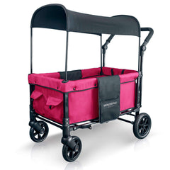 Wonderfold W1 (Multi-Function Twin Stroller Wagon, Push Only) - Fuchsia Pink-Wagon-The Sensible Mama