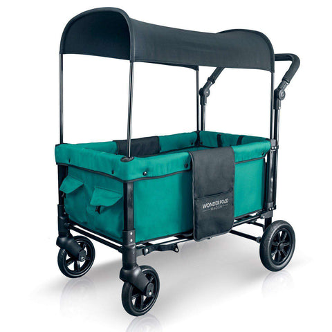 Wonderfold W1 (Multi-Function Twin Stroller Wagon, Push Only) - Teal Green-Wagon-The Sensible Mama