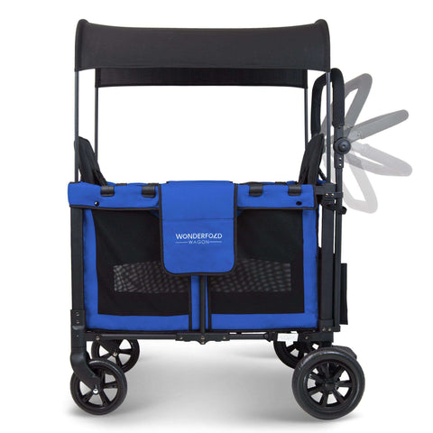 Wonderfold W2 (Multi-Function Twin Stroller Wagon, Push Only) - Blue-Wagon-The Sensible Mama