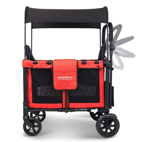 Wonderfold W2 (Multi-Function Twin Stroller Wagon, Push Only) - Poppy Red-Wagon-The Sensible Mama