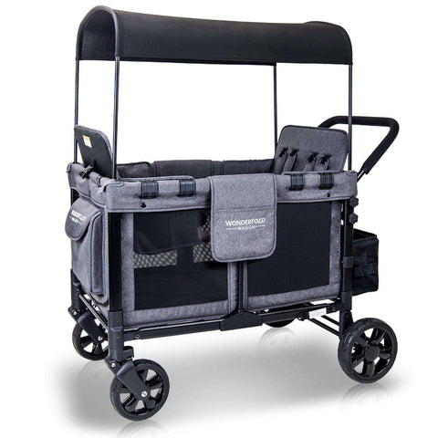 Wonderfold W4 (Multi-Function Quad Stroller Wagon, Push Only) - Gray-Wagon-The Sensible Mama