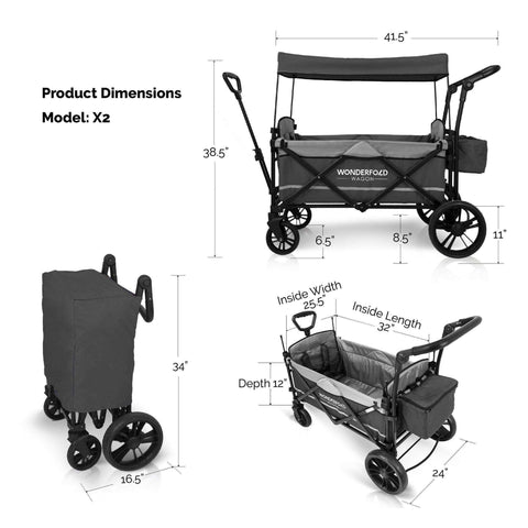 Wonderfold X2 (Multi-Function Twin Stroller Wagon, Pull/Push) - Gray-Wagon-The Sensible Mama