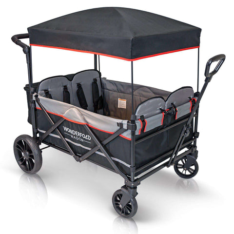 Wonderfold X4 (Multi-Function Quad Stroller Wagon, Pull/Push) - Black-Wagon-The Sensible Mama