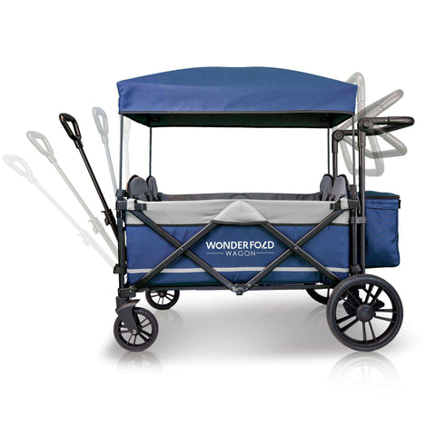 Wonderfold X4 (Multi-Function Quad Stroller Wagon, Pull/Push) - Navy-Wagon-The Sensible Mama