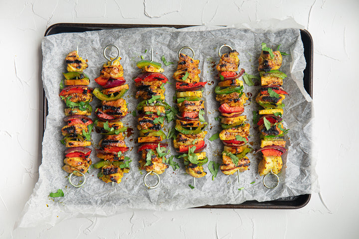 BBQ Chicken, Pineapple and Capsicum Kebabs