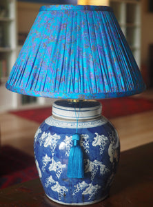 Selection of silk lamp shades made from Indian sari fabric